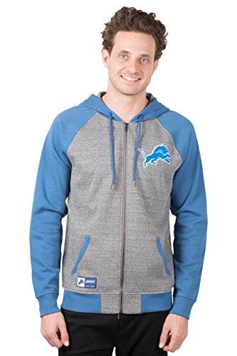 Icer Brands NFL Detroit Lions Men's Full Zip Fleece Hoodie Sweatshirt Raglan Jacket, Large, Gray