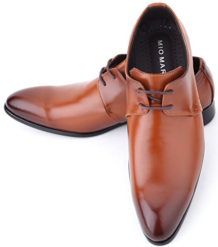 Mio Marino Mens Dress Shoes - Oxford Wingtip Lace - Leather Shoes For Men, in a Shoe Bag - Umber - Plain Toe - 10.5 D (M) US