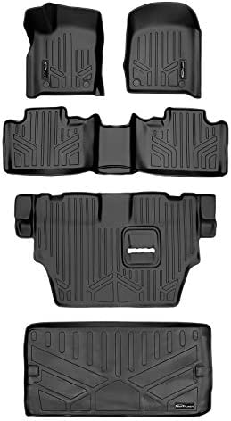 MAXLINER Floor Mats 3 Rows and Cargo Liner Behind 3rd Row Set Black for 2016-2021 Dodge Durango with 2nd Row Bench Seat