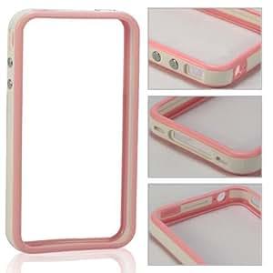 Bumper Concha Caso Cubrir Para Apple Iphone 4 4S / Pink And White Design