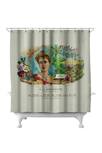 Key West Perfectos Brand Cigar Inner Box Label (71x74 Polyester Shower Curtain)