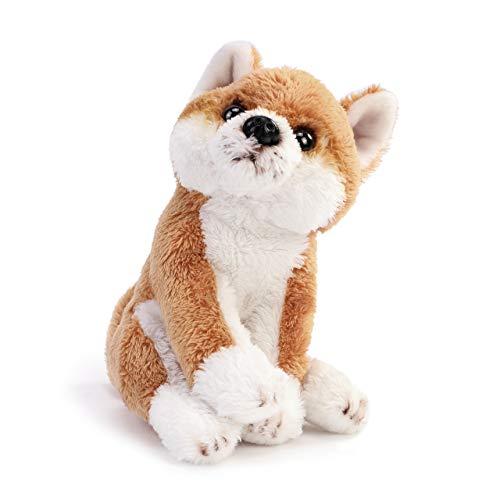 DEMDACO Shiba Inu Dog Soft Brown and White 6 inch Plush Fabric Beanbag Figure Toy