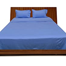 Queen 600TC 100% Egyptian Cotton Sky Blue Solid Superb Finish 4PCs WaterBed Sheet Solid(Pocket Size: 12 inches)