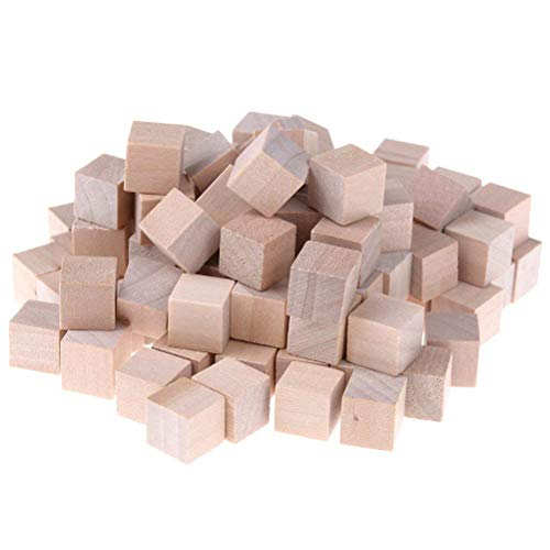 Welecom Wooden Cubes 1cm Natural Unfinished Craft Wood Blocks Wood Square Blocks Math, Puzzle Making, Crafts DIY Projects (100 Pcs) (Pc Wooden Colored Blocks 100)
