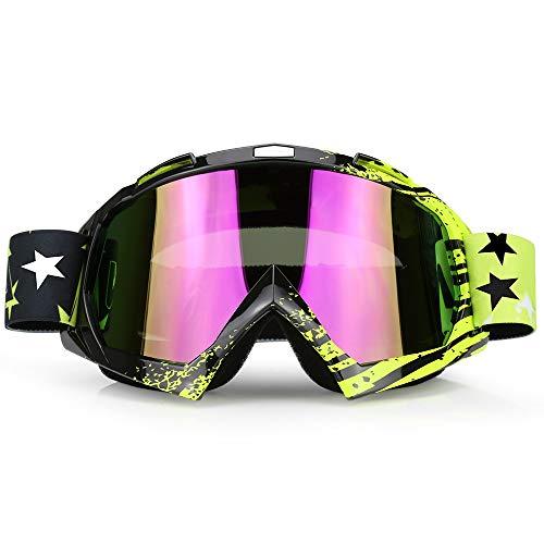 (ZDATT Professional Adult Motocross Goggles Dirtbike ATV Motorcycle Gafas UV Protection Motorbike Ski Snowboard Goggles )