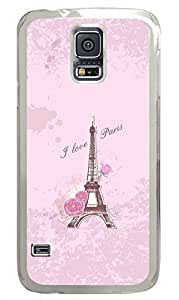 Pink Eiffel Tower In Paris PC Transparent Hard Case Cover Skin For Samsung Galaxy S5 I9600