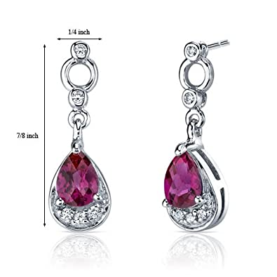 Simply Classy 1.50 Carats Created Ruby Dangle Earrings in Sterling Silver Rhodium Nickel Finish