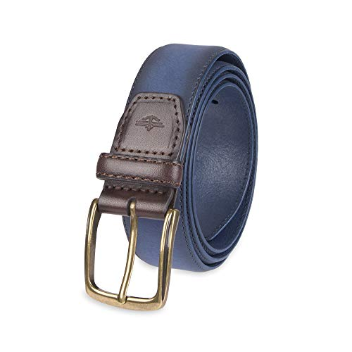 Dockers Men's Casual Leather Belt - 100% Soft Top Grain Genuine Leather Strap with Classic Prong Buckle, Navy, Xlarge (Suede Leather Belt Strap)