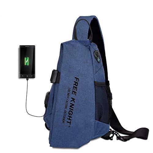 Meetrip Sling Bag, Crossbody Shoulder Travel Chest Backpack One Strap Daypack with USB Charging Port for Men Women (Blue)