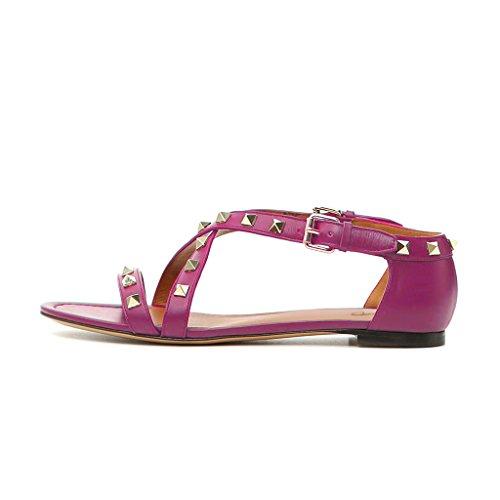 Sandali Con Scollo Tacco Tempestato Vintage Xyd Scarpe Aperte A Punta Piatta Cinturino Incrociato Donna Mocassini Estate Rosa Caldo