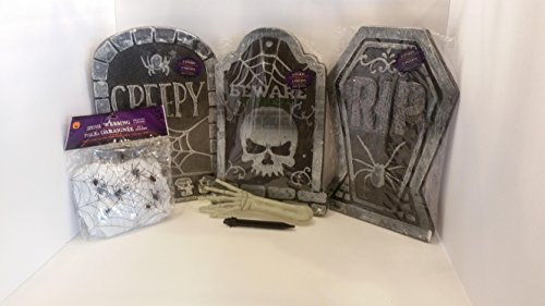 Tombstones (3) with Stakes and 2 oz. Bag of Spider Webbing Kit including 4 spiders and a glow in the dark zombie arm!