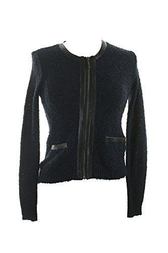 ショートカットキャッチ忠誠Alfani Womens Petites Textured Knit FauxレザートリムフルZipセーターNavy PL