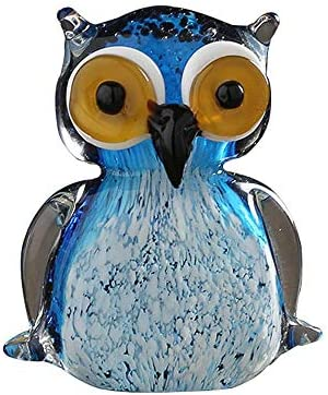 GR5AS Hauptdekoration, Glasdekoration, kreative Tierdekoration, Hauptverzierungen, orange eule, 10 * 12 cm (Color : Blue)