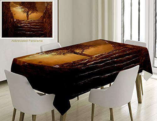 Unique Custom Cotton And Linen Blend Tablecloth Farm House Decor A Tree At Entrance With Stone Stairs Sunlight Cloudy Sky Winter Landscape MonochromicTablecovers For Rectangle Tables, 86 x 55 Inches