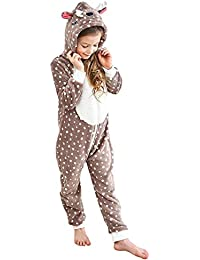 b1679b1c8 Kids Animal One-Piece Pajamas Costume Hooded Cosplay Onesies Plush Sleepwear  for Girls   Boys