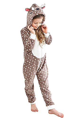 Anna King Kids Animal One-Piece Pajamas Costume Hooded Cosplay Onesies Plush Sleepwear for Girls & Boys Reindeer Size -
