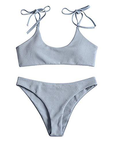bae607d0b499 ZAFUL Women's Sexy Tie Shoulders Ribbed Bikini Set Padded Strap Triangle  Swimsuit (Blue, L)