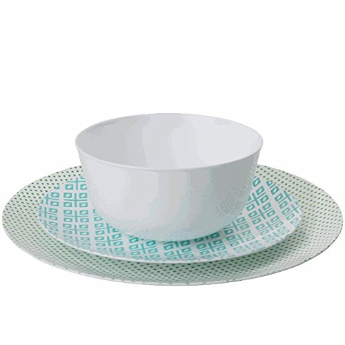 Trendables 60 - Pack Combo Premium Disposable Plastic Plates, Food Grade Plastic Dinner Plates - Aztec Design Includes: 20 x 10.25