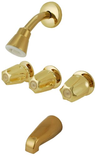 Trim Kit for 3-handle Shower Valve, Fit Price Pfister Compression Stem Shower, Polished Brass PVD Finish -By Plumb (Pvd Polish Brass)