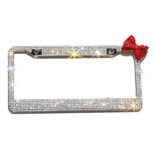 Front Frame Cover Diamond - Carfond 7 Row Handcrafted 1000+ pcs Finest 14 Facets SS20 Premium Glass Crystal Diamond Stainless Steel License Plate Frame Bonus Matching Screws Caps (red Bowknot)