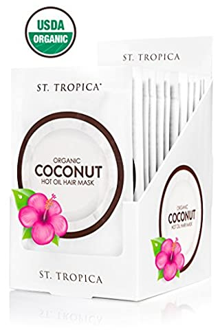 ST. TROPICA Coconut Oil Hair Mask - 12 Hair Masks - #1 Ranked on Skin Deep; USDA Organic with Biotin + Hair Superfoods. STRONGER, THICKER, LUSTROUS Hair with brilliant SHINE!