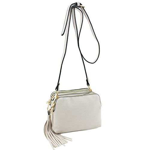 Crossbody Tassel Triple with Bag Mini Beige Compartment 7nxzqEw8H