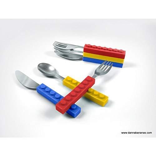Kids Spoon Fork Knife Interlocking Brick Eating Utensil Set for Children