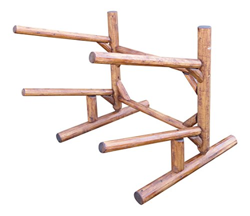 Log Kayak Rack 2-place 1-sided Canoe and Kayak + Paddle Boat Rack