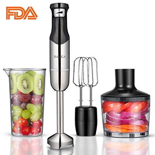 Hand Blender, BAYKA 5-in-1 Set Smart One-Button Control Immersion Blender, 500W Brushed Stainless Steel Electric Stick Blender with Double-End Mixing Whisk & Food Chopper & 600ml Beaker & Cleaning Brush
