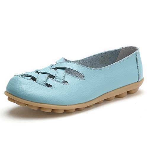 Women's Leather Loafer Casual Flat Shoes Rubber Sole Shoes Sky Blue