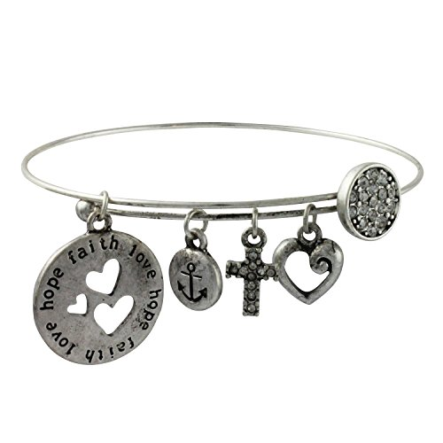 Inspirational Dangle Silvertone Bangle Bracelet product image