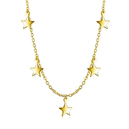 18k Star Necklace (Dangling Stars Choker Necklace - 18K Gold over Sterling Silver)