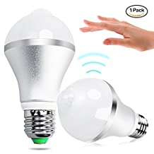 Motion Sensor Light Bulb,Minger 9W PIR LED Bulbs, Auto On/Off Night Lights for Stairs, Garage, Corridor, Walkway, Yard, Hallway, Patio, Carport (E26/E27,730lumen,Cold White)
