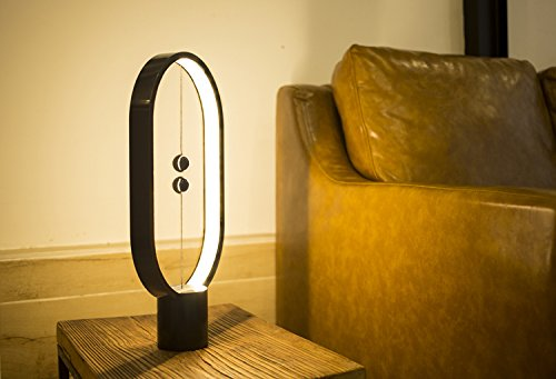 Heng Balance Lamp, Designer Table Lamp for Living room, Bedroom and Office. Desk Lamp for Computer. Bedside Lamp for Nightstand. The Modern Ellipse Mood Lamp with Magnetic Switch in Air. (Black) by Allocacoc (Image #2)