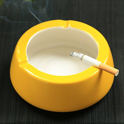 Znzbzt ashtray living room minimalist ashtray without cover large home bedroom personalized ceramic cylinder, yellow cigarette smoke cylinder (no anti-smoking slot)