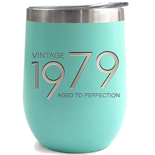 Steel Vintage T-shirt - 1979 40th Birthday Gifts for Women and Men Teal 12 oz Insulated Stainless Steel Tumbler | 40 Year Old Presents | Mom Dad Wife Husband Present | Party Decorations Supplies Anniversary Tumblers Gift th