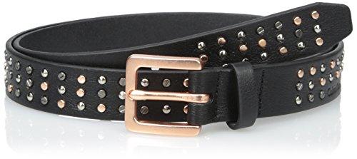 Calvin Klein Women's 25 mm Flat Strap with Multi Shape and Finish Studs Belt, Black Winter White/Multi, Medium Multi Stud Belt