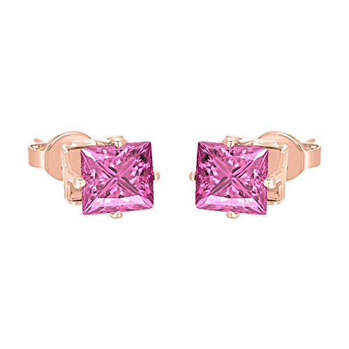 14k Rose Gold Plated Solitaire 4mm Princess Cut Created Pink Sapphire Stud Earrings For Women's & Girls