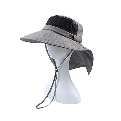 JANGANNSA Men UV50+ Sun Protection Fishing Cap Women Bucket Hat Foldable Mesh Boonie with Neck Flap Wide Brim Gray
