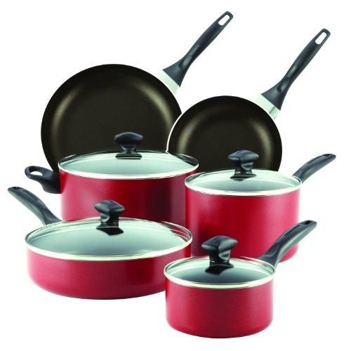 (Farberware Dishwasher Safe Aluminum Nonstick 14-Piece Cookware Set, Red)