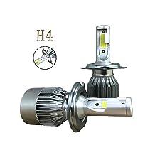 Kobwa H4 (HB2, 9003) Automotive LED Headlight Bulbs, 110W/ 9200 Lumen/ 6000K Cool White Car COB LED Conversion Replacement Kit (Pack of 2)