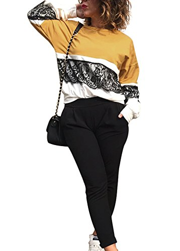 Blouse Collo Cucitura Giallo Lunga Maglie Camicetta T shirt Sweatshirt Pullover Moda Casual Jumper Sciolto Pizzo Manica Donna A Tops Rotondo qpBUwxxS