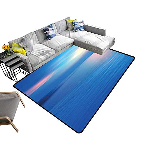 Non-Slip Area Rug Pad Seascape View in Dawn or Romantic Print Sky Blue Turquoise and Blue Protect Floors and Securing Rug 2' X 4'