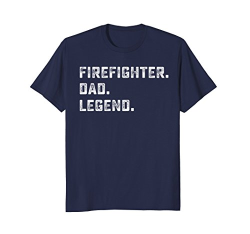 (Mens Family Gifts For Papa Firefighter Dad Legend Shirt XL Navy)