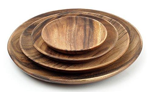 4 Holzteller rund im 4er Set aus Akazie - 4 Teller 4 verschiedene Größen - Holzschale Obstschale Deko Dekoration Aufbewahrung Akazienholz