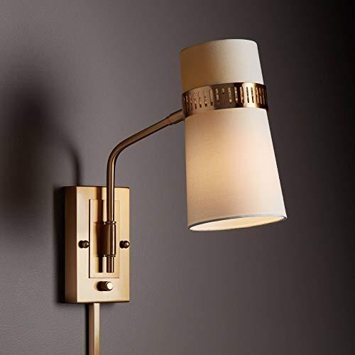 Cartwright Warm Antique Brass Plug-in Wall Lamp - Possini Euro Design
