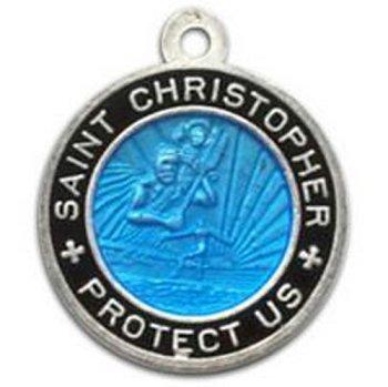 abc9f7381ee62 St. Christopher Surf Medal - Small Aquamarine/Black