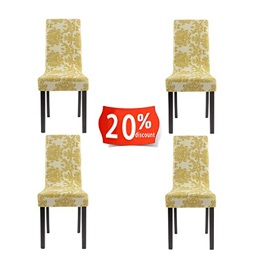 Homluxe Printed Spandex Stretch Dining Room Chair Slipcovers (Pack of 4, Gold Tree)