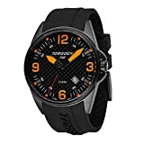 Torgoen T10 Carbon Fiber Pilot Watch | 44mm - Black Silicone Strap