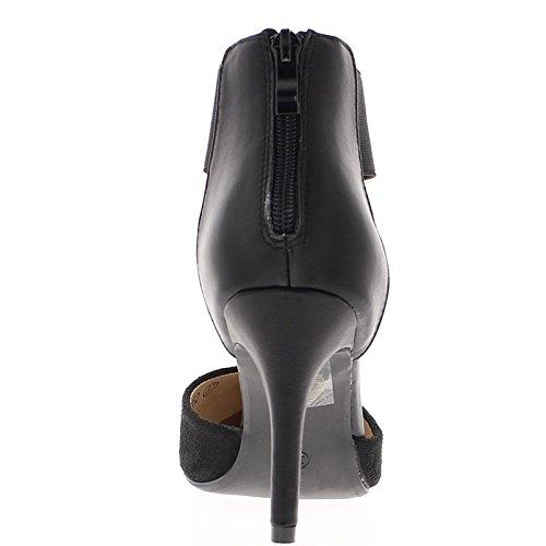 Pompe donna nero tacco flangia 9cm